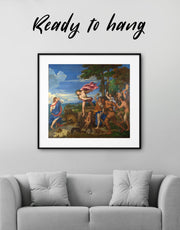 Framed Bacchus and Ariadne Titian Painting Wall Art Print
