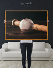 Framed Ball and Bat Baseball Wall Art Canvas