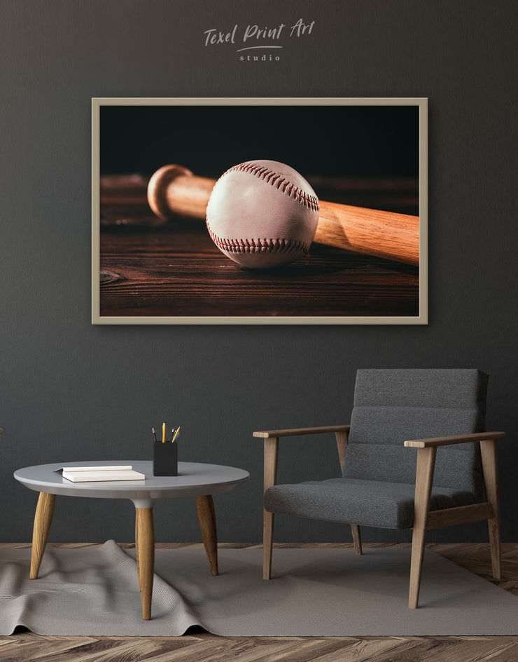 Framed Ball and Bat Baseball Wall Art Canvas - bachelor pad baseball baseball wall art bedroom framed canvas