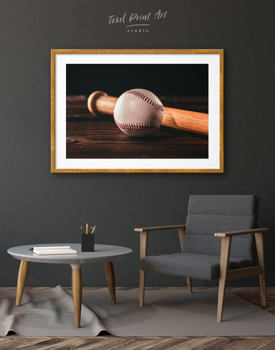 Framed Ball and Bat Baseball Wall Art Print - bachelor pad baseball baseball wall art bedroom framed print