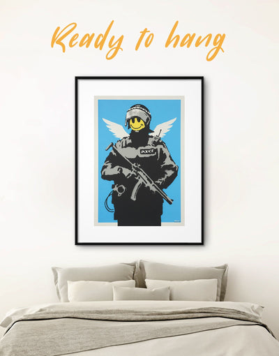 Framed Banksy Flying Copper Street Wall Art Print - banksy wall art bedroom Black Blue framed print