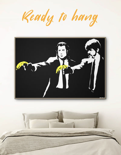 Framed Banksy Pulp Fiction Wall Art Canvas - banksy banksy wall art bedroom black black and white wall art
