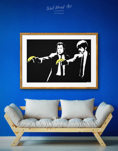 Framed Banksy Pulp Fiction Wall Art Print - banksy banksy wall art bedroom black black and white wall art