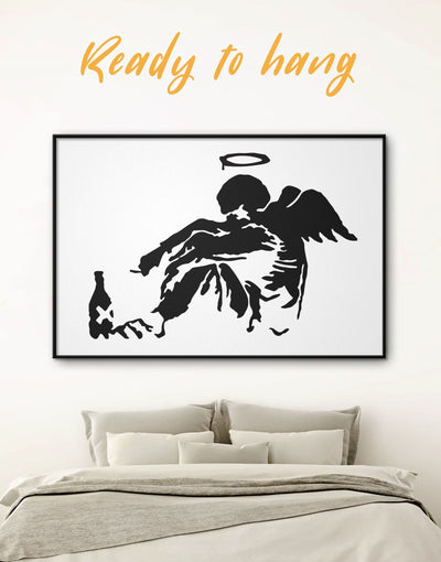 Framed Banksys Fallen Angel Wall Art Canvas - Banksy Banksy wall art bedroom Black Contemporary