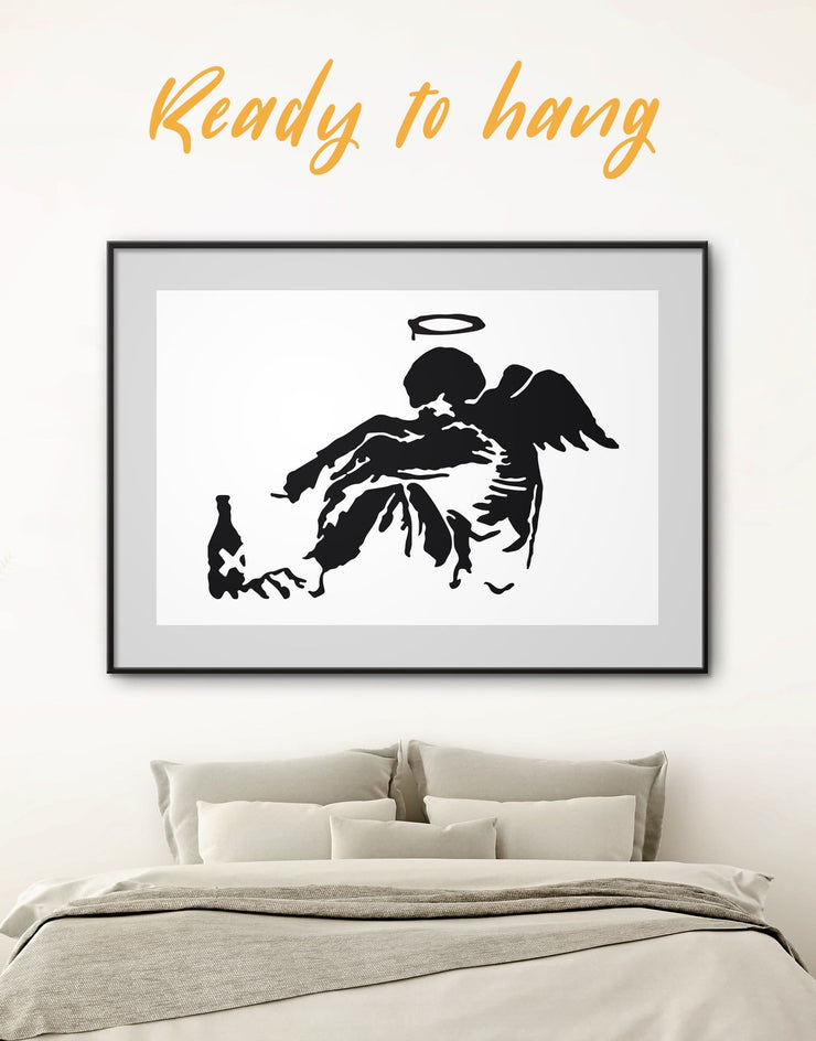 Framed Banksys Fallen Angel Wall Art Print - Banksy Banksy wall art bedroom Black Contemporary