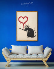 Framed Banksy's Love Rat Wall Art Canvas