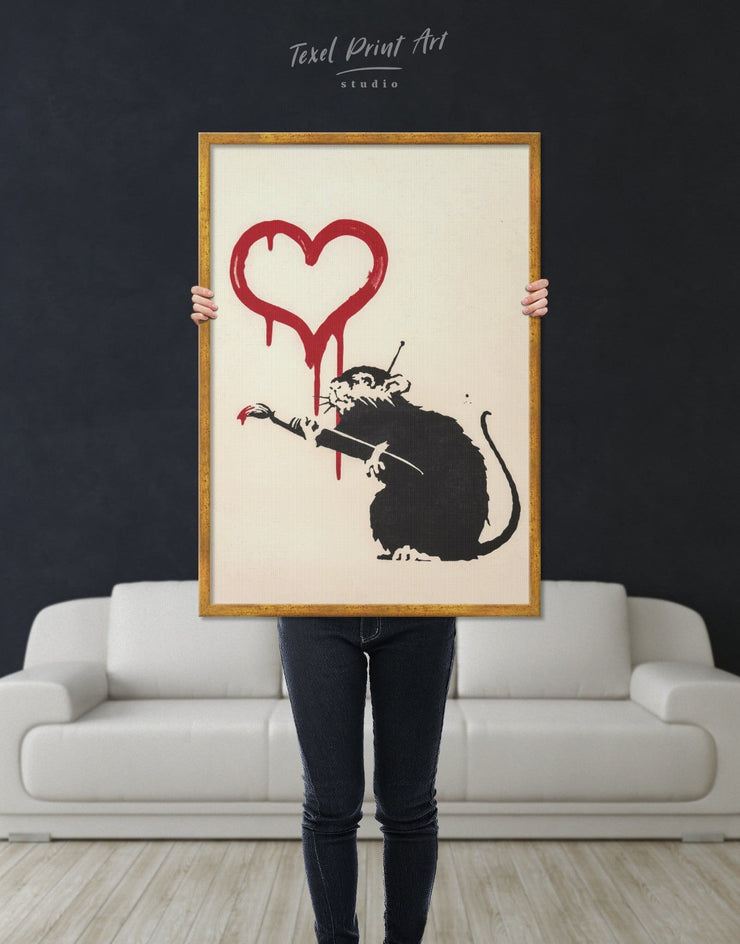 Framed Banksys Love Rat Wall Art Canvas - Banksy Banksy wall art black Contemporary framed canvas
