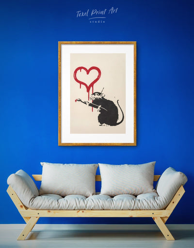Framed Banksys Love Rat Wall Art Print - Banksy Banksy wall art black Contemporary framed print
