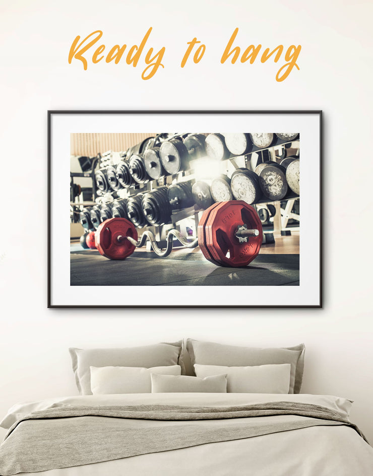 Framed Barbell Wall Art Print - framed print framed wall art framed wall art for living room Home Gym Living Room