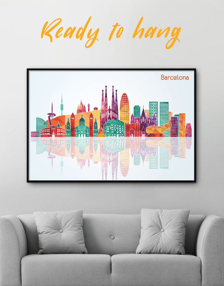 Framed Barcelona Skyline Canvas - Canvas Wall Art bedroom City Skyline Wall Art Cityscape Dining room framed canvas