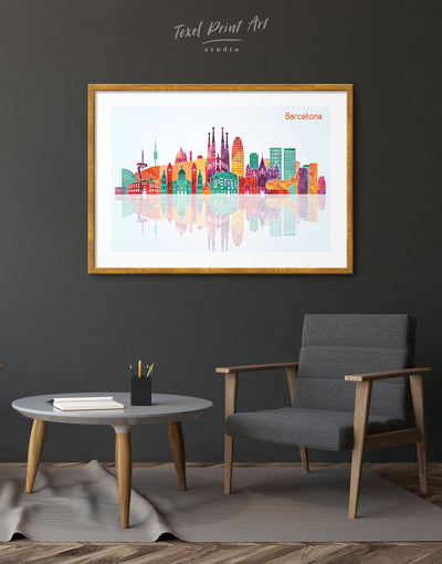 Framed Barcelona Skyline Print - Wall Art framed print
