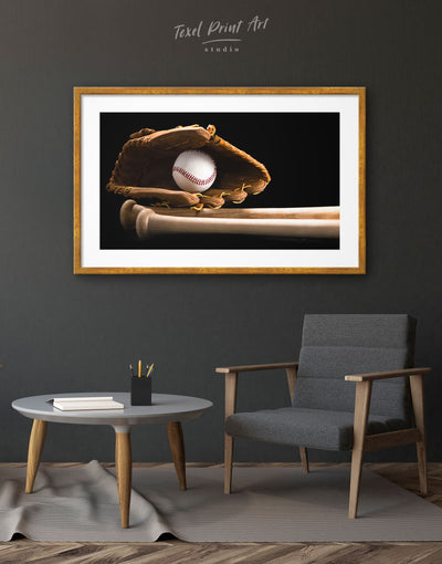 Framed Baseball Decor Wall Art Print - bachelor pad baseball baseball wall art bedroom framed print