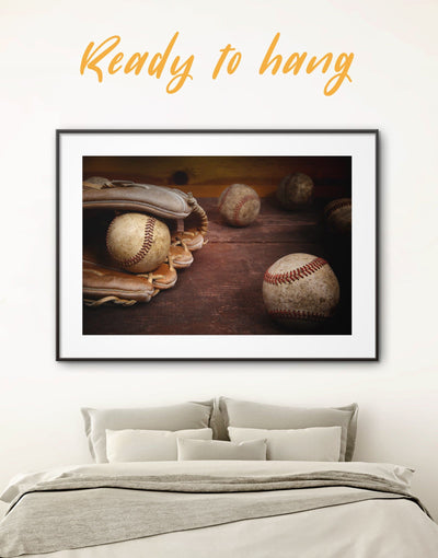 Framed Baseball Glove in Close Up Wall Art Print - bachelor pad baseball wall art Brown framed print framed wall art