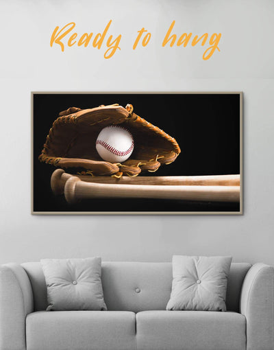 Framed Baseball Wall Art Canvas - bachelor pad baseball baseball wall art bedroom framed canvas
