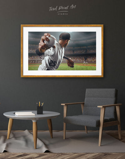 Framed Baseball Wall Art Print - bachelor pad baseball wall art bedroom framed print inspirational wall art
