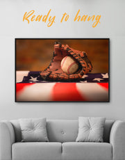 Framed Baseball With American Flag Wall Art Canvas