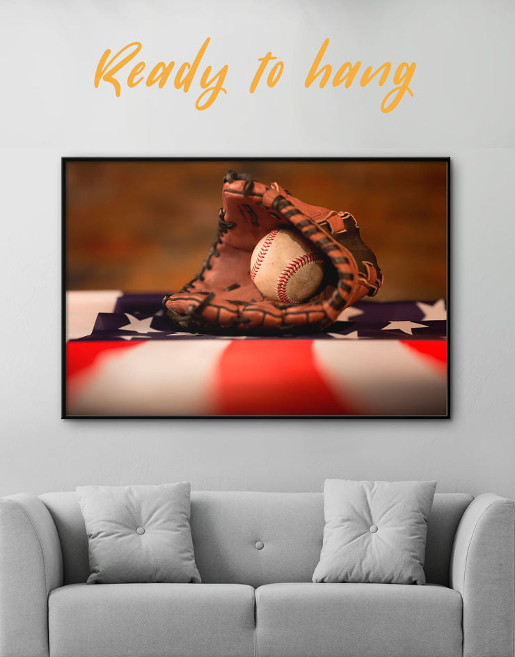 Framed Baseball With American Flag Wall Art Canvas - bachelor pad baseball baseball wall art framed canvas Living Room