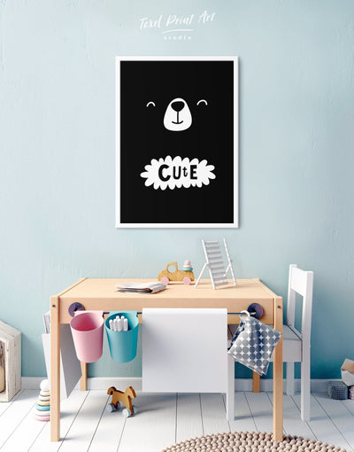 Framed Bear Nursery Wall Decor Canvas - Canvas Wall Art Black black and white framed canvas Kids room kids wall art