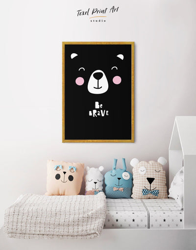 Framed Bear Wall Art Nursery Artwork Canvas - Canvas Wall Art Black black and white framed canvas Kids room kids wall art