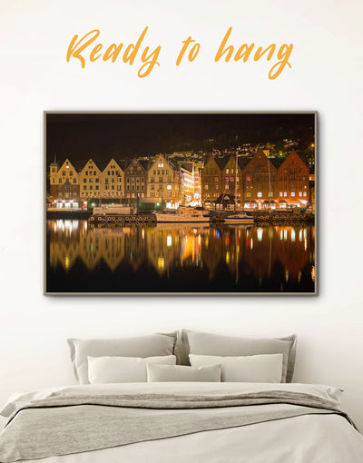 Framed Bergen Wall Art Canvas - bedroom Brown City Skyline Wall Art Cityscape framed canvas