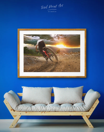Framed Bicycle Sport Wall Art Print - bachelor pad bicycle wall art Brown framed print Hallway