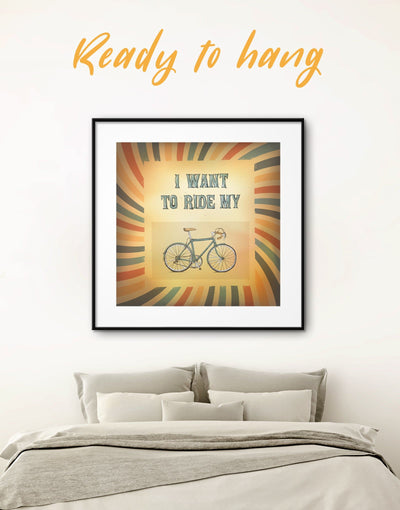 Framed Bicycle Wall Art Print - bicycle wall art brown framed print Sports Vintage