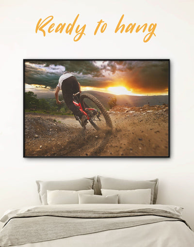 Framed Bicyclist Sporting Wall Art Canvas - bachelor pad bicycle wall art Brown framed canvas Hallway