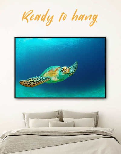Framed Big Turtle Wall Art Canvas - Animal Blue framed canvas Living Room ocean wall art