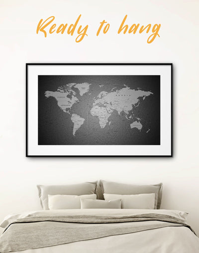 Framed Black and Grey World Map Wall Art Print - black and grey wall art black and silver wall art Contemporary contemporary wall art framed