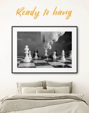 Framed Black and White Chess Wall Art Print