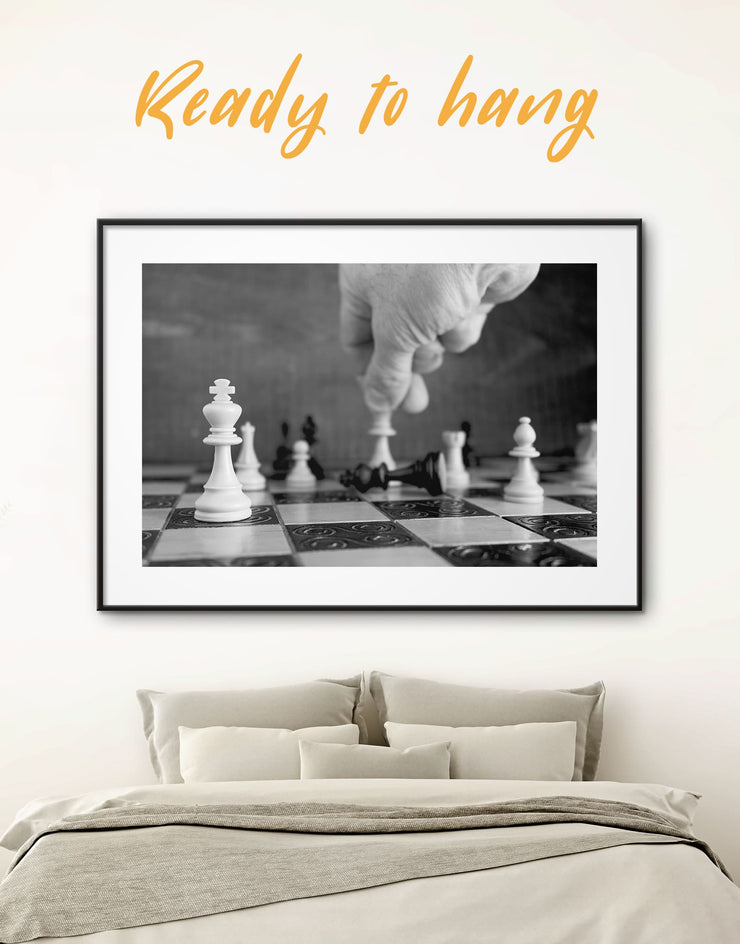 Framed Black and White Chess Wall Art Print - bedroom Black black and white framed wall art black and white wall art framed