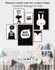 Framed Black and White Nursery Art Canvas
