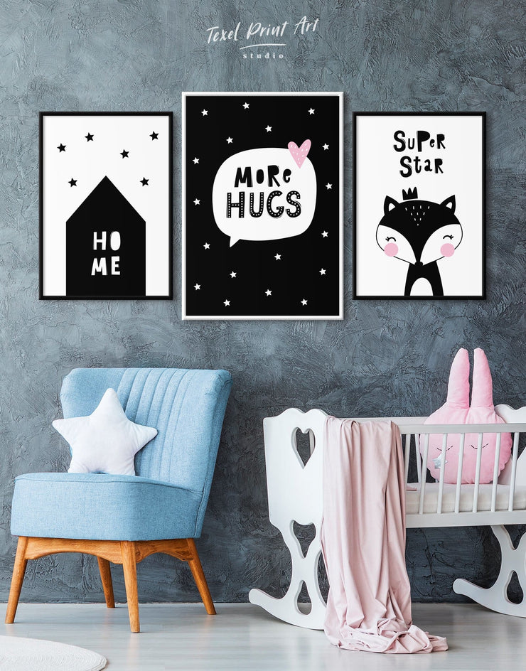 Framed Black and White Nursery Art Canvas - Canvas Wall Art Black black and white framed canvas Kids room kids wall art