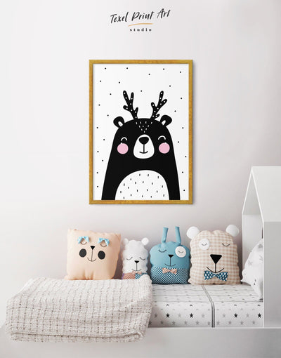 Framed Black Bear Nursery Decor Canvas - Canvas Wall Art Black black and white framed canvas Kids room kids wall art