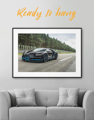 Framed Black Bugatti Chiron Wall Art Print - bachelor pad Car framed print garage wall art Grey