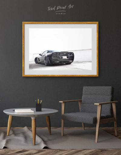 Framed Black Car Chevrolet Wall Art Print - bachelor pad black and grey wall art black and white wall art car framed print