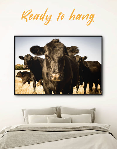Framed Black Cows Wall Art Canvas - Animal Animals Black cow canvas wall art Farmhouse