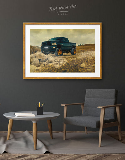 Framed Black Dogde Ram Wall Art Print - bachelor pad car framed print garage wall art Hallway