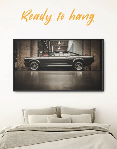Framed Black Ford Mustang GT 500 Wall Art Canvas - bachelor pad bedroom Black Brown Car
