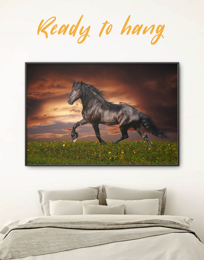 Framed Black Horse Wall Art Canvas - Animal bedroom Farmhouse framed canvas framed wall art