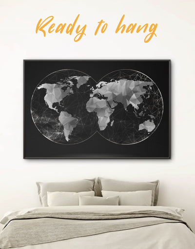 Framed Black Map of the World Wall Art Canvas - Abstract map abstract world map wall art bedroom Black black and silver wall art