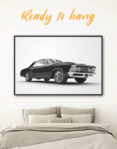 Framed Black Muscle Car Wall Art Canvas - bachelor pad bedroom Black black and white wall art Car