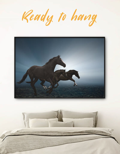 Framed Black Running Horse Wall Art Canvas - Animal Animals bedroom black Farmhouse