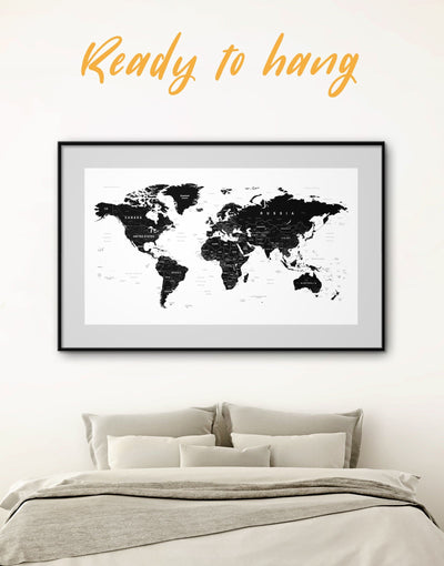 Framed Black Travel Map Wall Art Print - Black black and white wall art Black and white world map framed print framed world map print