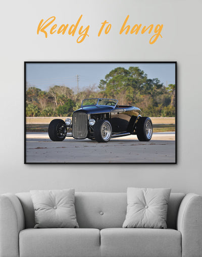 Framed Black Vintage Automobile Wall Art Canvas - bachelor pad Car framed canvas garage wall art manly wall art