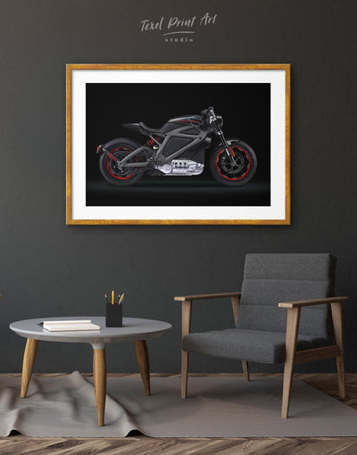 Framed Black Widows Motorcycle Wall Art Print - Wall Art bachelor pad bedroom black framed print Hallway