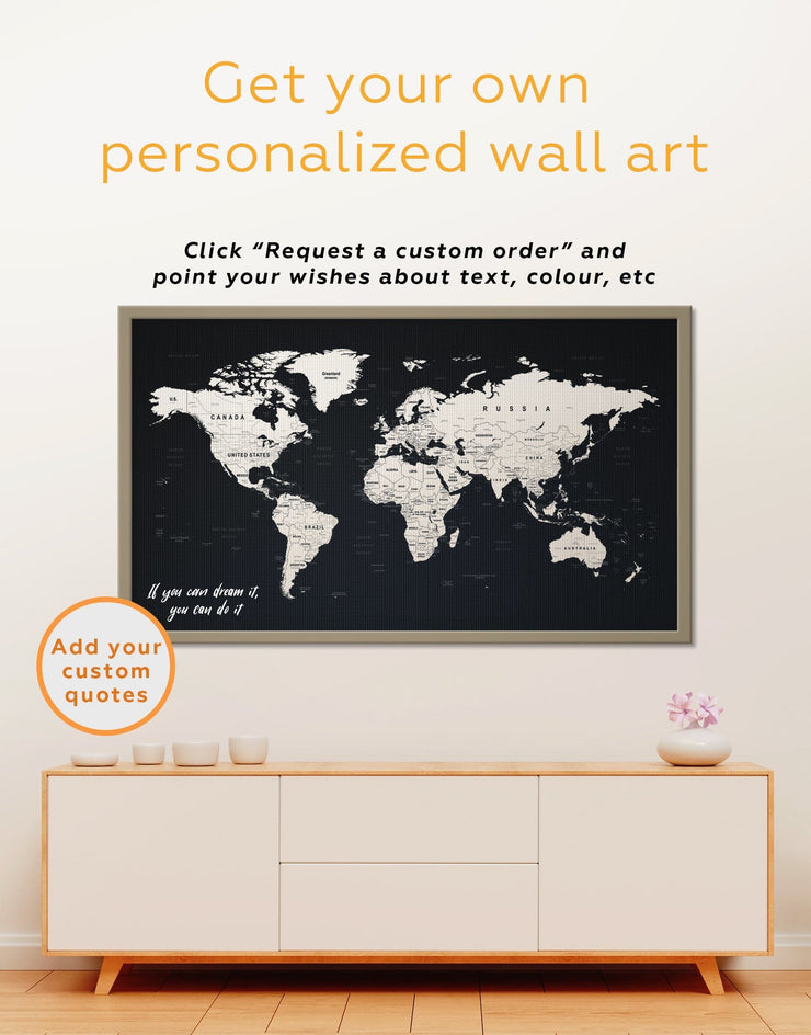 Framed Black World Map Wall Art Canvas - Black black and white wall art Black and white world map corkboard framed canvas