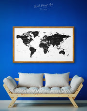 Framed Black World Map Wall Art Canvas