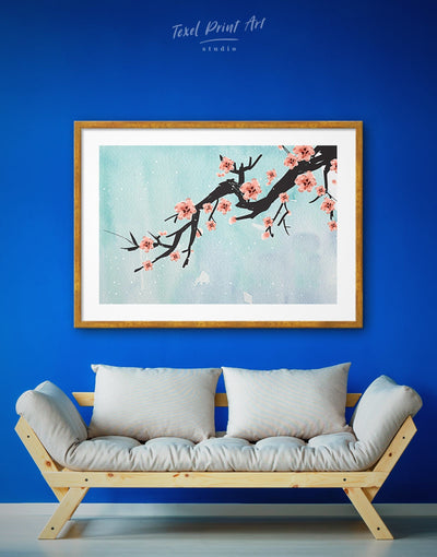 Framed Blossom Wall Art Print - bedroom Blue cherry blossoms wall art flora framed