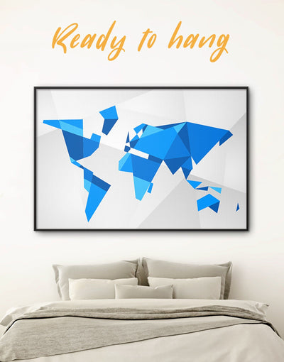 Framed Blue Abstract World Map Wall Art Canvas - Abstract Abstract map bedroom Blue blue and white